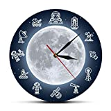 gongyu Espacio Viaje Luna Arte de Pared Moderno Reloj de Pared Espacio Exterior Astronauta Reloj de Tiempo Redondo Reloj de Pared Ciencia Surrealista decoración de Pared de Galaxia