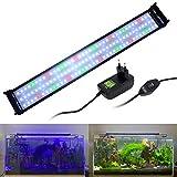 VARMHUS Iluminación de acuario de espectro completo con soportes extensibles, LED azul, blanco, verde y rojo, para acuarios de 70-90 cm (27 W)