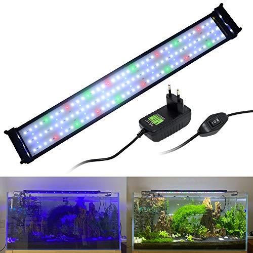 VARMHUS Aquarienlicht, Vollspektrum-Aquarienbeleuchtung mit ausziehbaren Halterungen, Blaue, weiße, grüne und rote LEDs Für Aquarien mit Einer Länge von 70-90 cm (27 W)