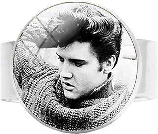 Style1 Boutons de manchette en verre Elvis Presley pour homme