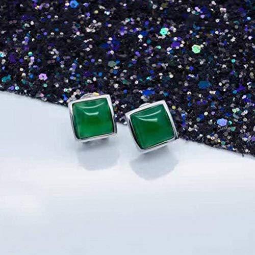 Katylen S925 Silber Grün Chalcedon Ohrclip Weibliche Mode Quadrat Ohrringe Geometrische Ohrringe Weiblich, Silber