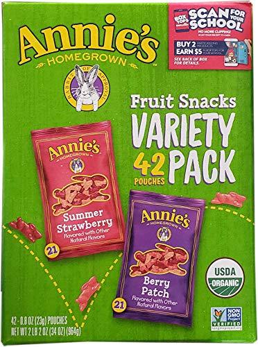 Annie#039s Homegrown Homegrown Fruit Snacks Variety Pack Net Wt 42 Pack 08 Oz Net Wt 34 Oz