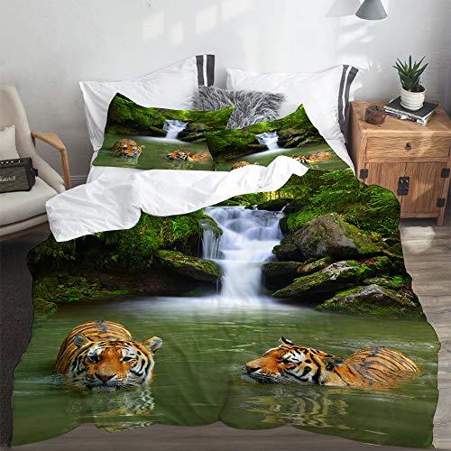 LASINSU Funda De Edredón,Tigres siberianos en Agua Cascada Piscina Bo