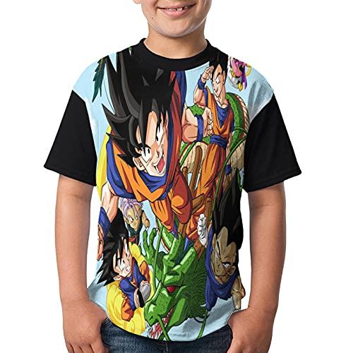 Dragon_Ball_Z - Camiseta de manga corta para niños y niñas con estampado en 3D para niños, Negro, M