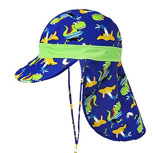 Baby-Jungen Mütze UPF 50, Kinder Sonnenhut Anti-UV Unisex verstellbare Kinder Katze, Sommer Mädchen Hut, Nackenschutz für 1-9 Jahre (blau)