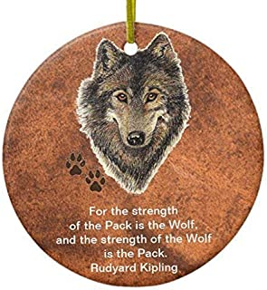 Mesllings Christmas Decorations Tree Ornament Watercolor Wolf Track Family Quote by Kipling Ornament Circle Round Ornament Funny Xmas Gifts Holiday Home Decor