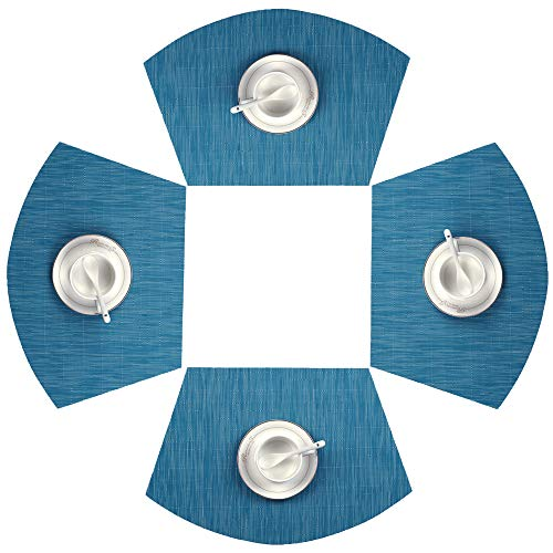 SHACOS Round Table Placemats Set of 4 Wedge Placemats Heat Resistant Table Mats Wipe Clean (4, Teal Blue)
