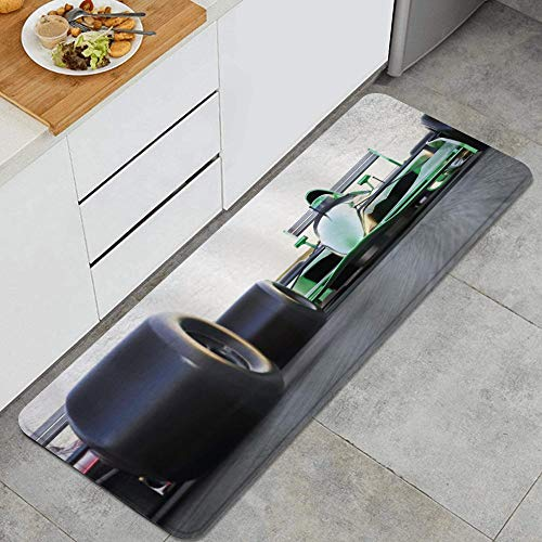 SUHETI Kitchen Rug,Cars Sports Theme Indy Cars on an Asphalt Road with Motion Blur Formula Race Print,Thick non-slip kitchen carpet and mat floor mat(45*120cm )