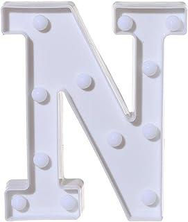 Dubocu 2018 Alphabet Led Letter Lights, Light Up Plastic Letters Standing Hanging A-Z Sign For Home Decoration White N