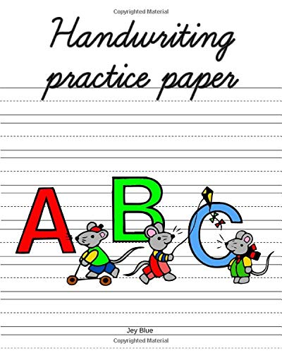 Handwriting Practice Paper - ABC: Workbook pages with Dotted Lined Sheets for K-3 Students,  8x10 inches, 100+ pages