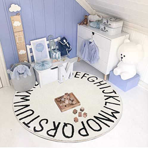 SHACOS Spielteppich Kinder Baumwollteppich Rund für Kinder-Teppich Buchstaben Krabbelmatte Rund Teppich Baumwolle rutschfest 160cm Weiß Teppich Babyzimmer Jungen