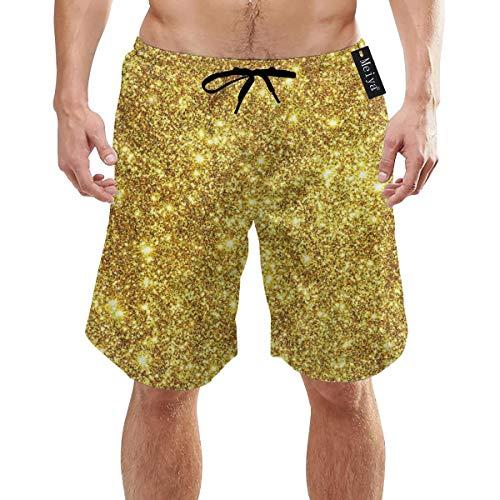 Alysai Golden Flash Herren Badehose Quick Dry Strandshorts mit Taschen M.
