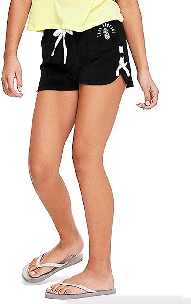 Justice Girls Washington Mall New York Mall Lace Up French Shorts Terry Black