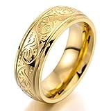 MunkiMix 7mm Acero Inoxidable Anillo Ring Banda Venda Oro Dorado Tono Grabado Florentino Diseño Talla Tamaño 20 Hombre