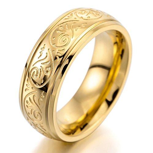MunkiMix 7mm Acero Inoxidable Anillo Ring Banda Venda Oro Dorado Tono Grabado Florentino Diseño Talla Tamaño 17 Hombre