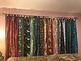 1 cortina de seda para decoración de ventanas y puertas, diseño de sari hippie