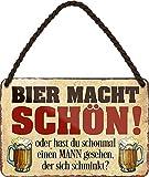 Targa in metallo con scritta in lingua tedesca 'Bier Power SCHÖN .' targa decorativa per bar, bancone o pub, regalo divertente per compleanno o Natale per i tuoi amici Trink & Sauf 18 x 12 cm