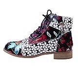 HULKY Botas Retro de Mujer Bohemia Botines de Cuero Impresión Botas de Moto Vintage Zapatos con Cordones Puntiagudos Mujeres 2019 Nuevo(Negro,41)
