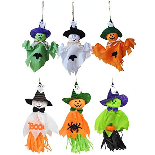 æ—  Halloween Cute Ghost Decorations, 6 Pcs Halloween Party Decoration Hanging Ghost Pumpkin Ghost Straw Windsock Pendant for Front Yard Patio Lawn Garden Themed Party Decor