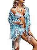 Vialogry Blusa informal de playa para mujer, con borlas, sexy, con costuras huecas, con costuras irregulares, de punto calado, para piscina