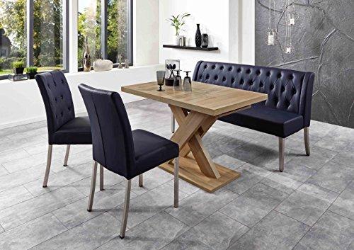 Moderne Bankgruppe / Essgruppe Toulouse, 1 Bank 2 Stühle, Gestelle Edelstahl gebürstet plus 1 Wangentisch, Honigeiche Dekor, Sitz und Rücken Kunstleder Farbe dunkelblau, mit Komfortfederung