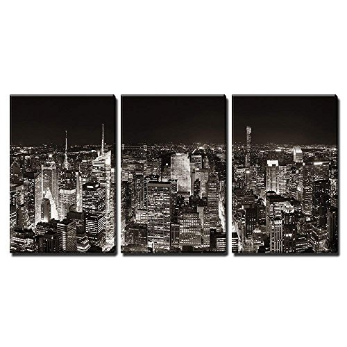 wall26 - 3 Piece Canvas Wall Art - New York City Midtown Skyline Panorama with Skyscrapers and Urban Cityscape at Night. - Modern Home Decor Stretched and Framed Ready to Hang - 24'x36'x3 Panels