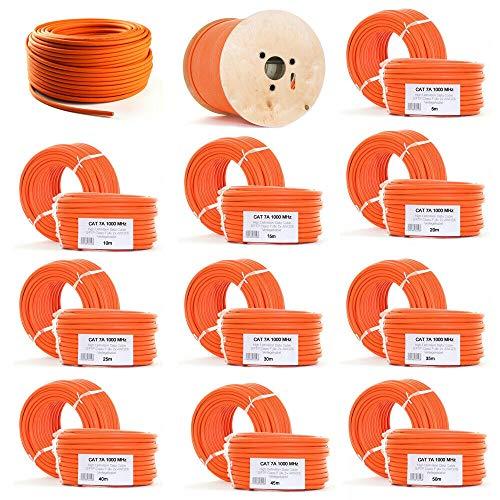 ORSEM CAT.7 Netzwerkkabel Verlegekabel Kupfer Starr S/FTP PIMF halogenfrei Netzwerk-kabel Installationskabel LAN Kabel Ethernet Datenkabel Gigabit CAT7 10Gbit 1000MHz LSZH BauPVO Orange (20m)