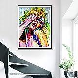 ganlanshu Pintura sin Marco Personajes Color Pintura al óleo Cuadros de Pared decoración del hogar Carteles e Impresiones Acuarela Arte Pintura lienzoAY5438 40X50cm