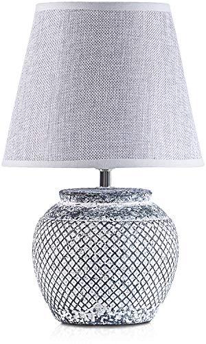 BRUBAKER Tischlampe Nachttischlampe - 30,5 cm - Grau - Keramik Lampenfuß - Leinen Schirm Hellgrau