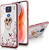 B-wishy for Moto G Play 2021 Case Glitter Crystal Butterfly Heart Floral Slim TPU Luxury Bling Cute Girls Protective Cover with Ring Holder Stand for Moto G Play 2021-Rose Gold