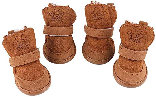 URBESTBrown Hook Loop Closure Booties Pet Dog Chihuahua Shoes Boots 2 Pair (s)
