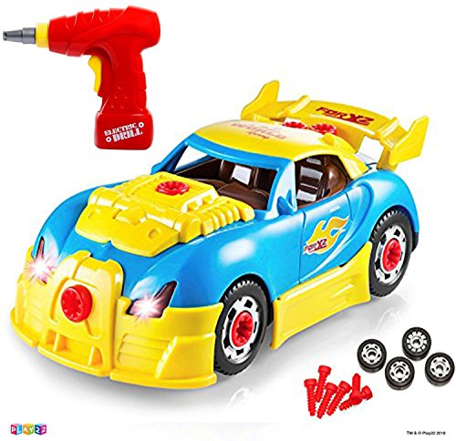 Image of the Take Apart Racing Car Toys - Build Your Own Toy Car with 30 Piece Constructions Set - Toy Car Comes with Engine Sounds & Lights & Drill with Toy Tools for Kids - Newest Version - Original - by Play22