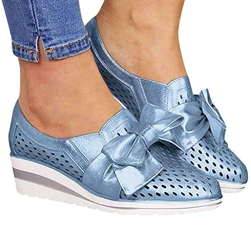 HAPPYSTORE Women Bowknot Loafers Toe Wedges Hollow Out Walking Shoes Beach Sandals 6.5 Blue