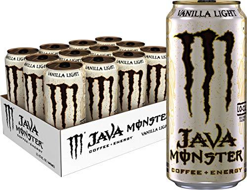 Monster Energy Java Monster Vanilla Light, Coffee + Energy Drink,15 Fl Oz (Pack of 12)