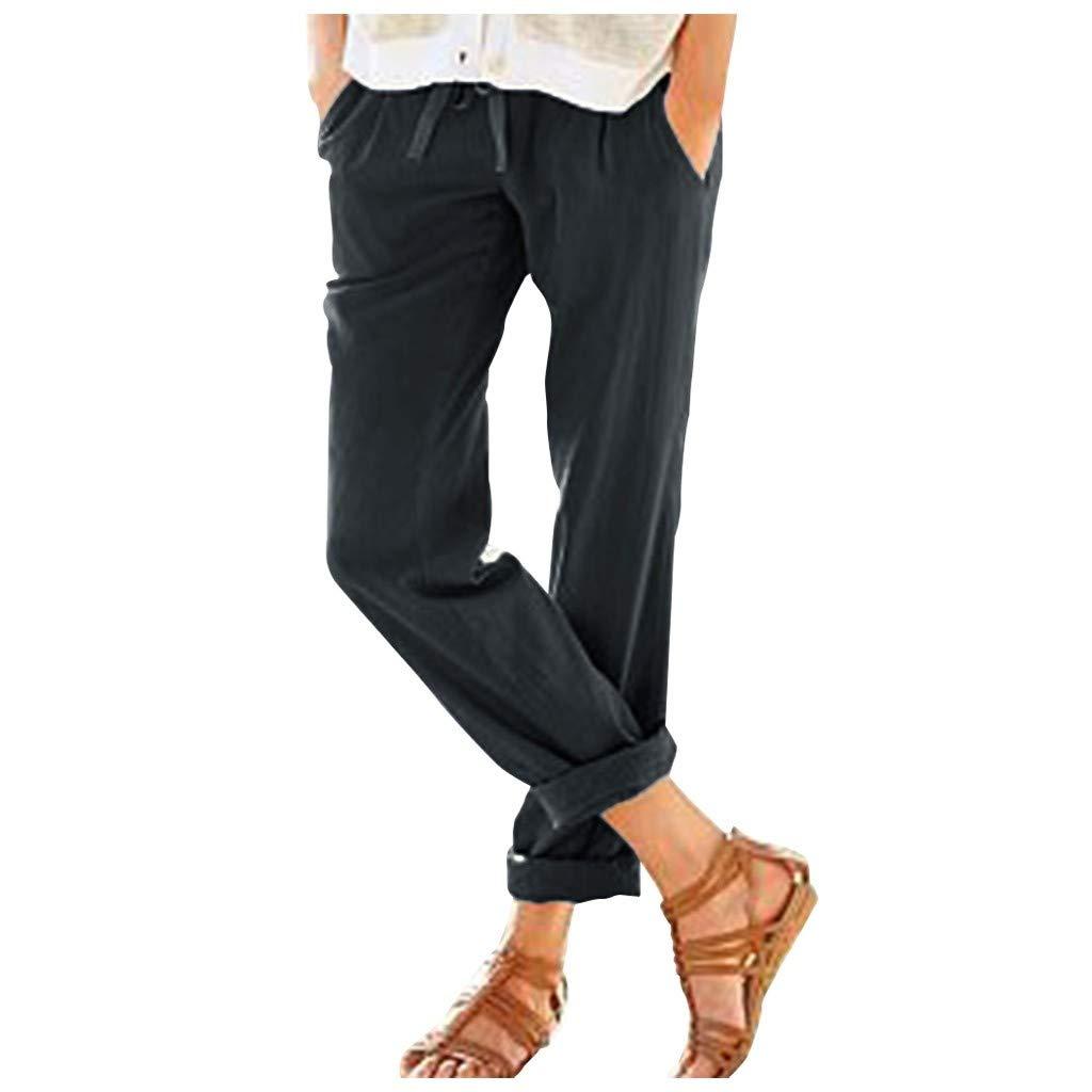 Yebutt Femme Été Décontractée Coton Lin Ample Pantalon Léger Cordon Élastique Solide Couleur Pantacourt Sport Pants 7/8 Longueur Pants