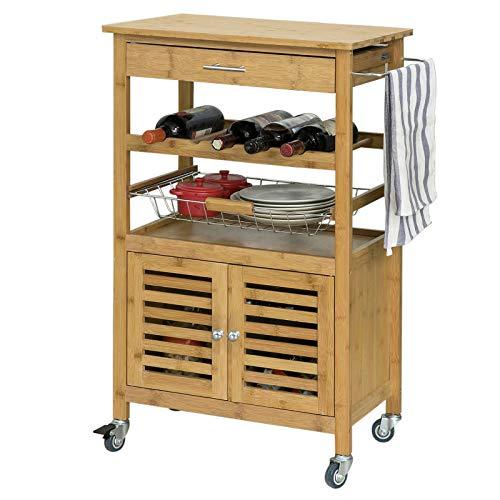 SoBuy® Carrito de cocina, estantería de cocina, carrito de servir de bambú de alta calidad L56xP36xA92cm, FKW53-N