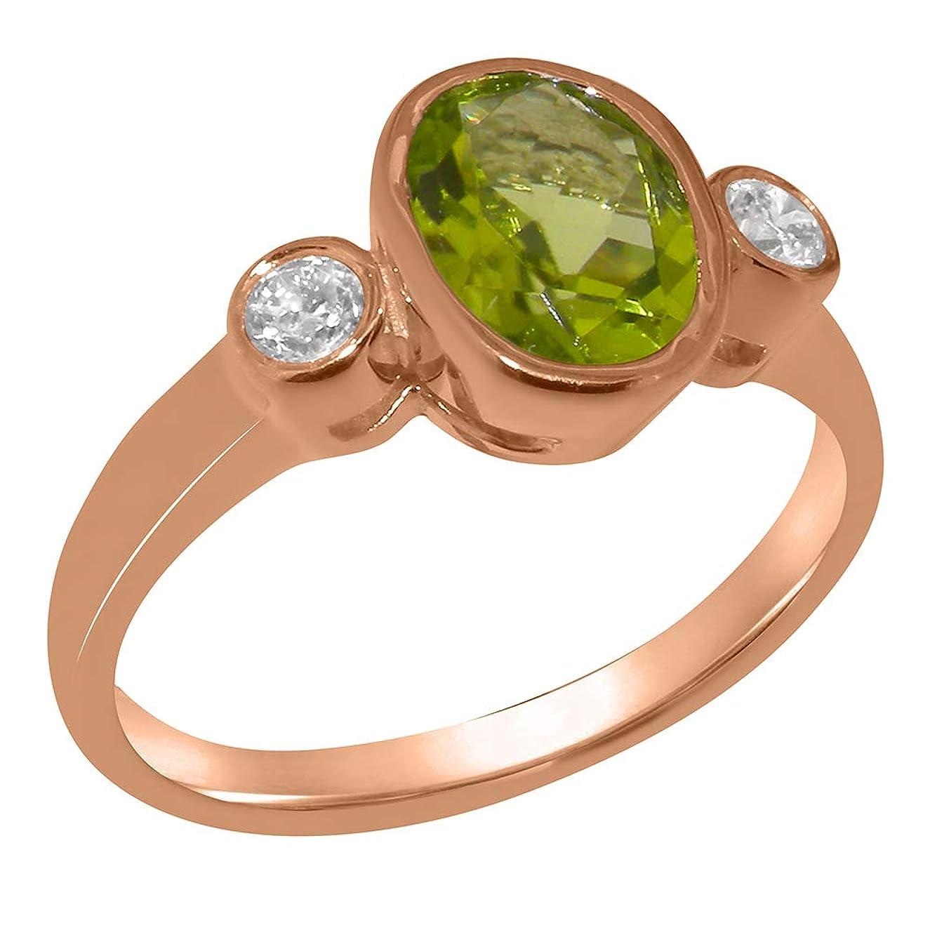 入射贅沢な真似る英国製(イギリス製) K18 ピンクゴールド 天然 ペリドットキュービックジルコニア レディース3石 トリロジー リング 指輪 各種 サイズ あり