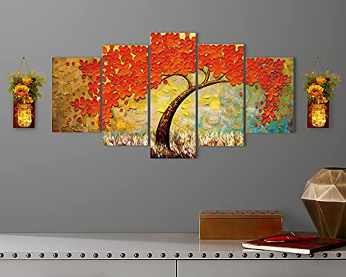 Large Wall Art Yellow Red Teal Wall Decor Abstract...