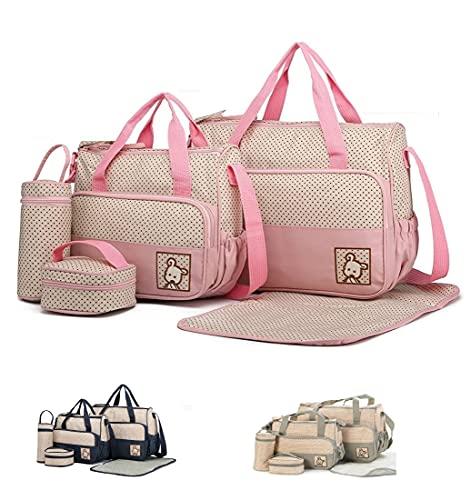 SIERRA Bolsa grande, bolsa mediana, recipiente para la comida, portabebés y cambiador. Juego completo para guardar pañales y comida del bebé (rosa)