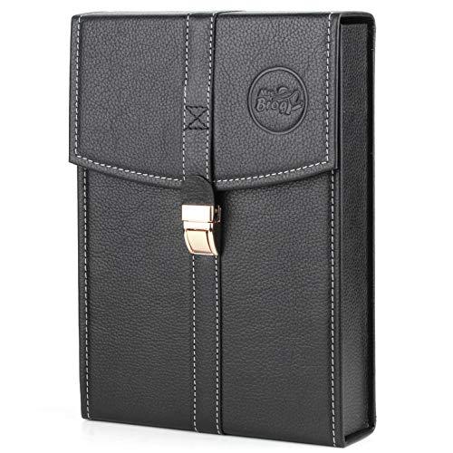 Mrs. Brog Elegant Full Grain Leather Cigar Humidor Travel Case - Black