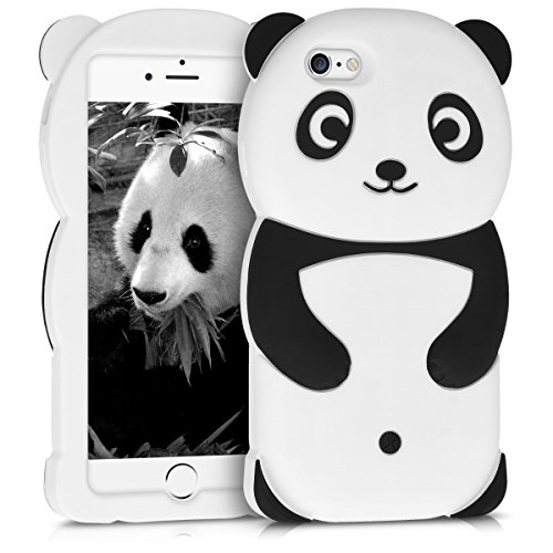 kwmobile Funda Compatible con Apple iPhone 6 / 6S - Carcasa de Silicona y Panda - Cover Trasero de móvil