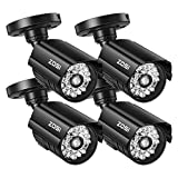 ZOSI 4 Pack Dummy Security CCTV Camera Bullet with One Realistic