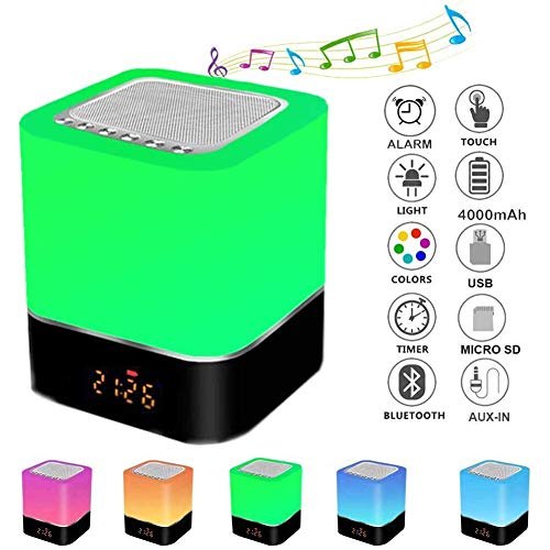 Touch Sensor Bedside Lamp Alarm Clock, Night Lights Bluetooth Speaker, MP3 Music Player, FM Radio, Touch Control LED Lamp Dimmable Warm Lights 7 Colors, Best Gift