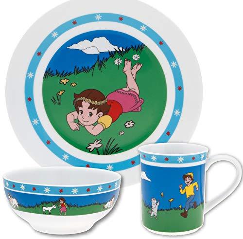 Kindergeschirr-Set Heidi 3-teilig aus Porzellan von Puresigns, Kinderteller Kinderbecher Müslischale, spülmaschinengeeignet