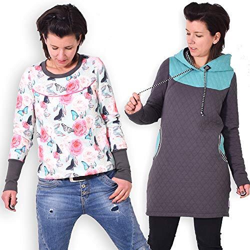 leni pepunkt Schnittmuster Pullover Kapuzenpullover Damen in den Größen XS-XXXL zum selber Nähen mit Kurzanleitung und Webetiketten