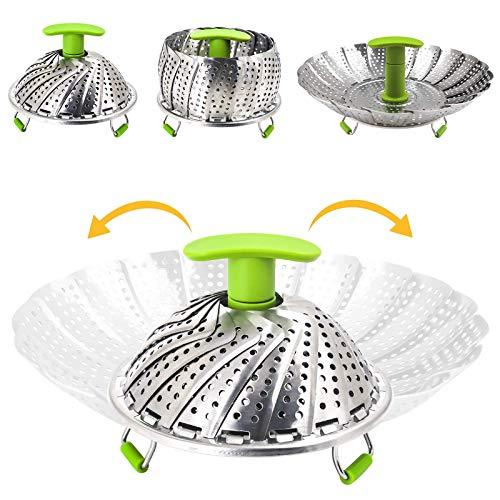 Ubrand Vegetable Steamer Basketball-Steamer aus Edelstahl, veggie Steamer Einsatz mit verlängerbarem Handgriff, Cooking Steamer erweiterbar für verschiedene Größen Topf (7 bis 11 Zoll))
