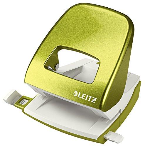 Leitz 50081023 Locher (30 Blatt, Anschlagschiene mit Formatvorgaben, Metall, Blisterverpackung, WOW) metallic grün