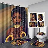 Jayden&Madge 4PCS/Set Sexy African Woman Shower Curtain Afro Girl Bath Curtain Waterproof Fabric Bathtub Curtains, Non-Slip Bathroom Rugs Bath Mats Toilet Carpet, Black Art Decor, Girl + Sunflower