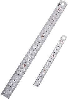 CCINEE ステンレス直尺 定規 300mm(大)x1, 150mm(小)x1, 2本セット「ミリメートルとインチの交換表付き」