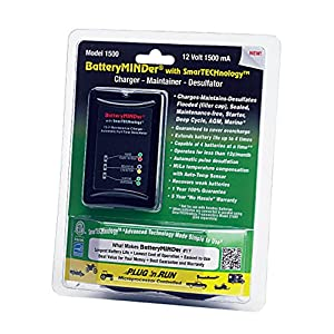 BatteryMINDer 1500: 12 Volt-1.5 AMP Battery Charger, Battery Maintainer, and Battery Desulfator with SmartTECHnology - Designed for Cars, Trucks, Boats, Motorcycles, Snowmobiles, Jet Skis, Golf Carts